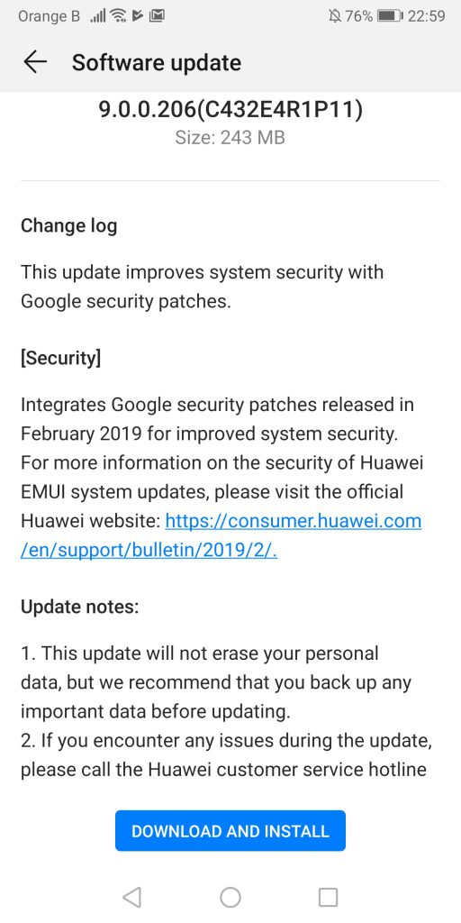 Huawei Mate 10 Pro receives update: February 2019 security