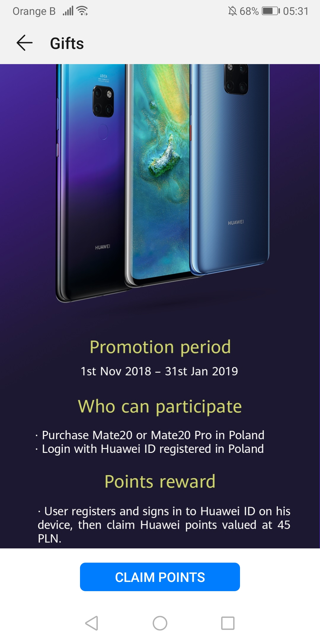 Huawei Points appear once again, this time on a Huawei